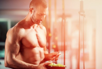 fit man eating healthy food