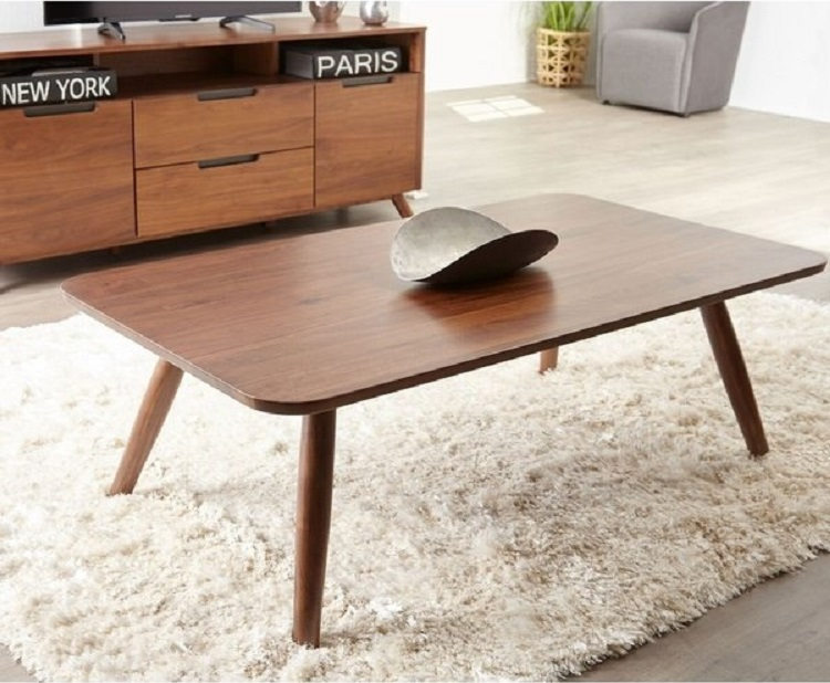 walnut modern coffee table