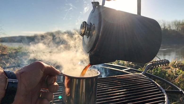 Campsite percolator coffee