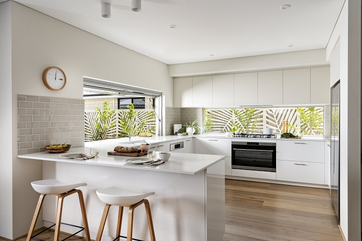 picture of modern kitchen with white appliances