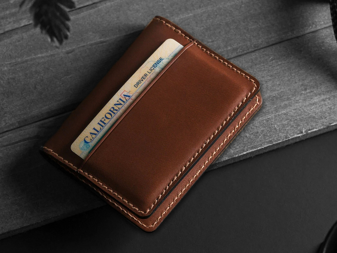 leather wallet with drivers license inside