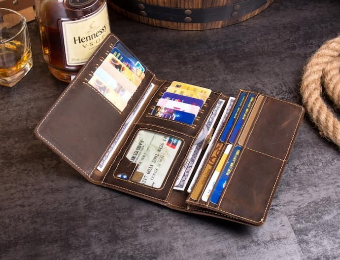 travel wallet with a lot of credit cars inside