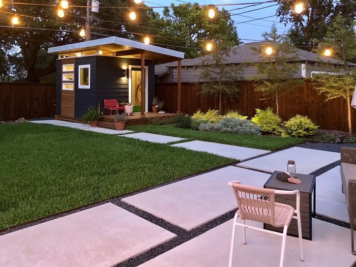 Backyard Shed with outdoor light