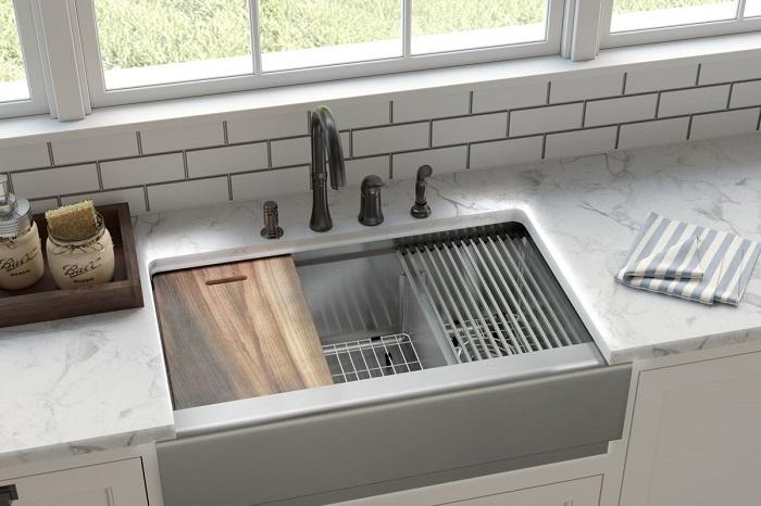 kitchen sink with some kitchen essentials